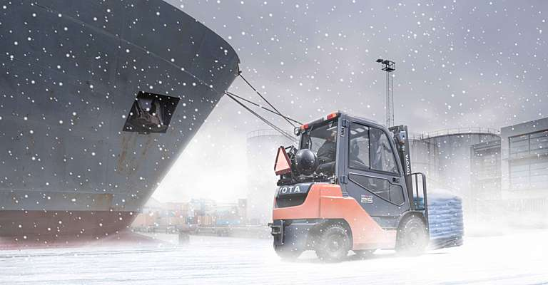 Toyota forklift truck in winter