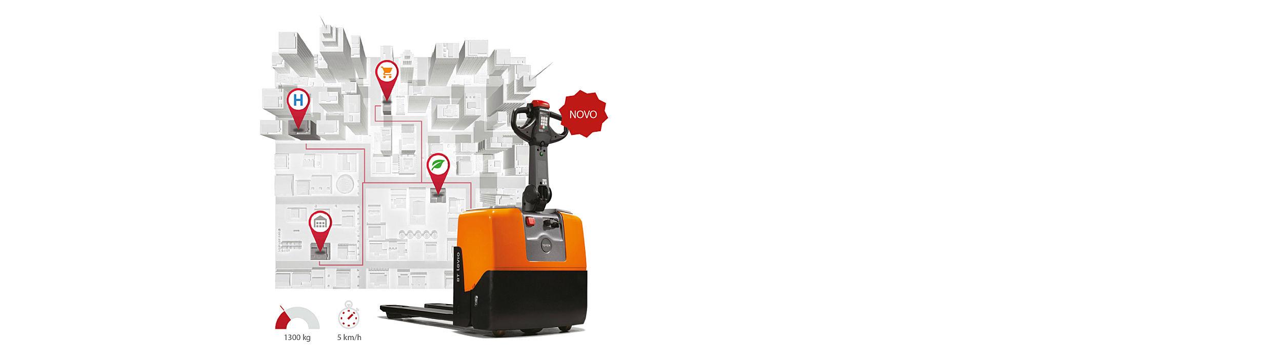 Promova movimentos de carga sem esforço. Porta paletes com carregador incorporado. Alimentação 220v (rede doméstica)