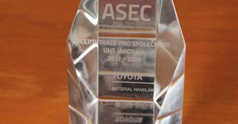 ASEC plaketa - obdržel dealer UHS Jakos