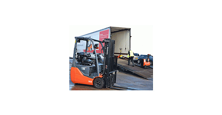Demonstration wagon showing Toyota forklifts