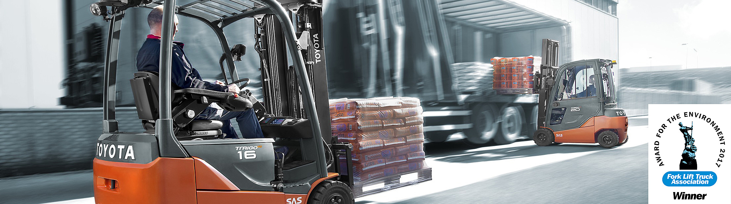 Toyota Traigo electric counterbalance forklifts used in transport