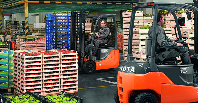 Toyota Traigo electric forklift trucks working in food industry