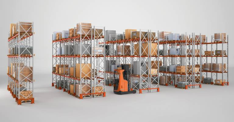 Standard pallet racking in warehouse