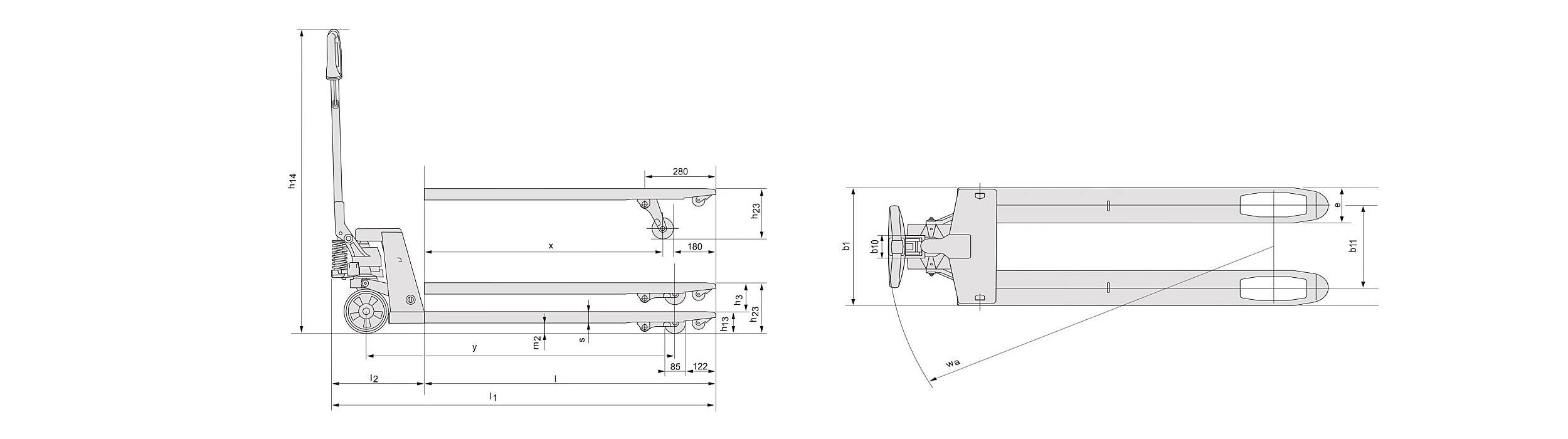 estrutura e sistema porta paletes manual