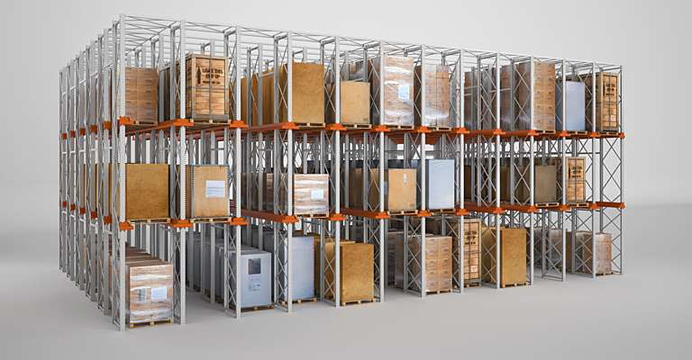 Drive-in pallet racking in warehouse