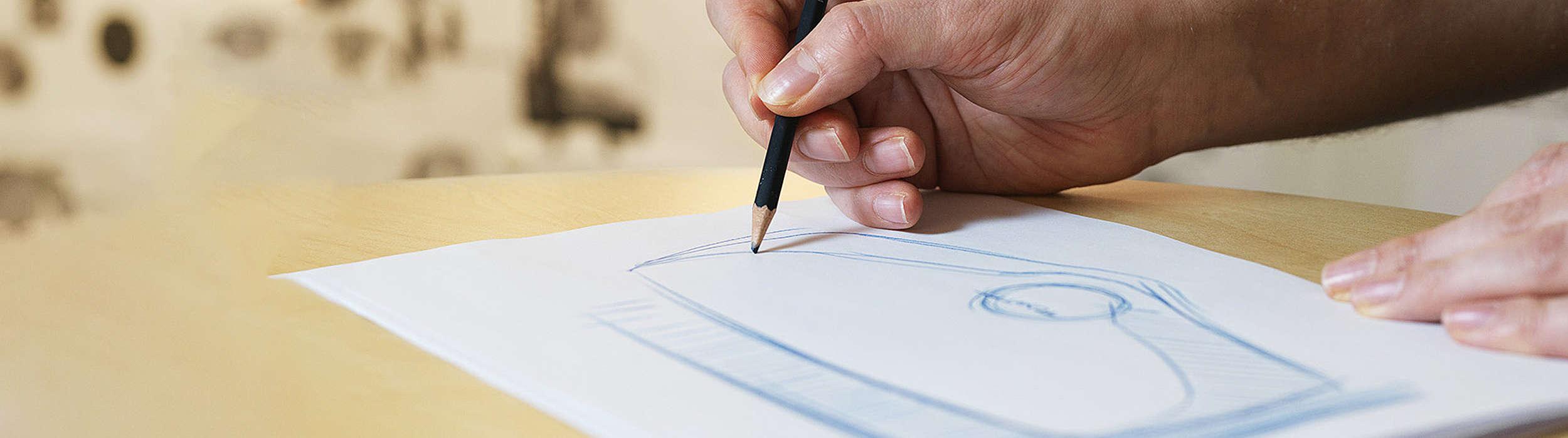Diseño en papel de una carretilla