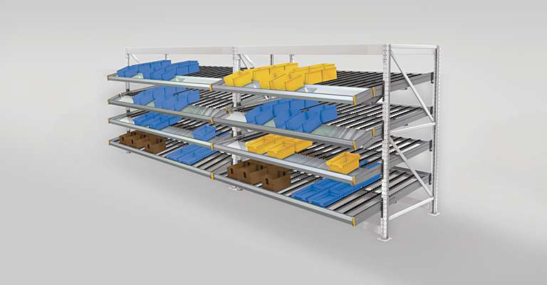 Live storage racking in warehouse