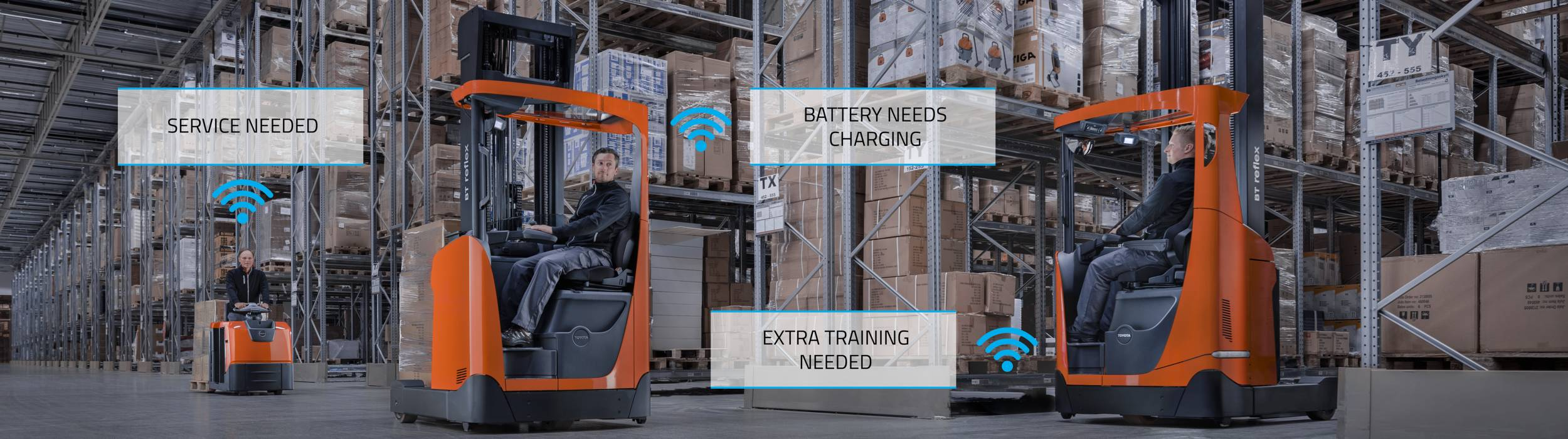 With smart warehouse trucks as standard, you get the tools to manage your forklifts, improve utilisation and service quality