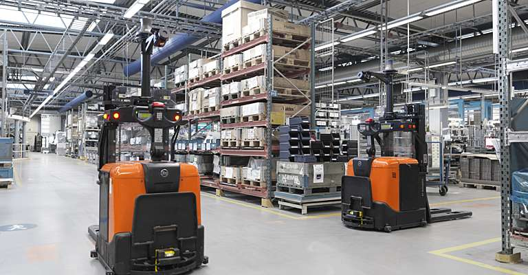 Automated trucks in Haldex's warehouse