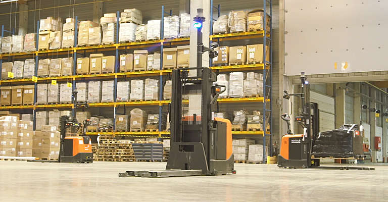 Automated trucks in DSV warehouse