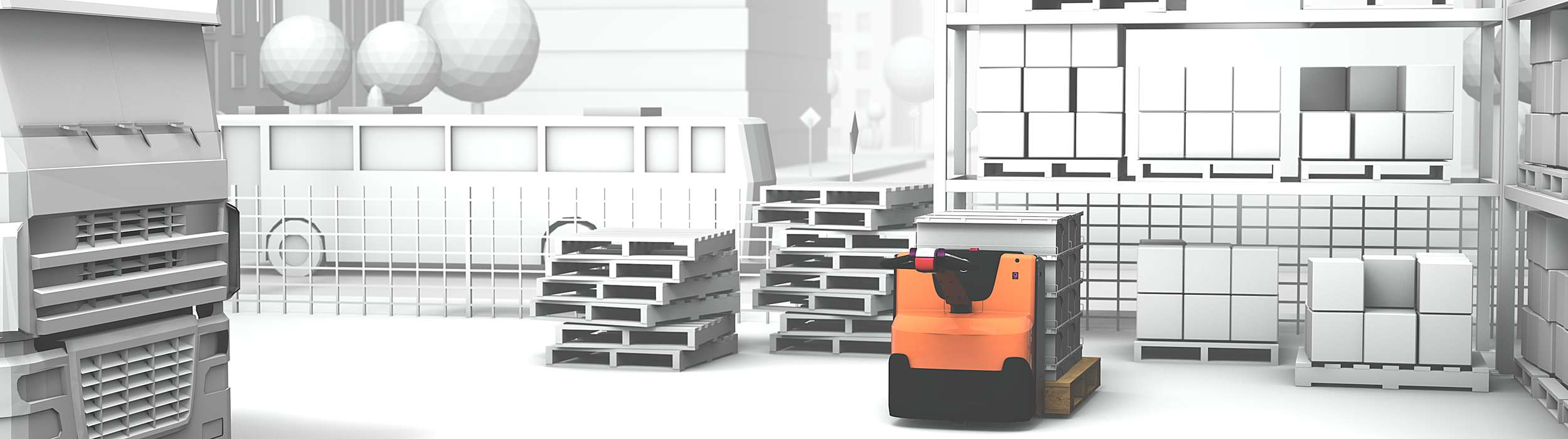 Illustration of silent truck in warehouse