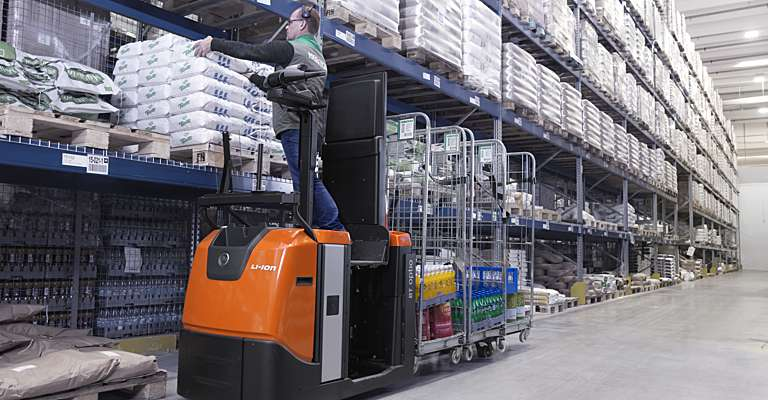 Lithium-ion truck in warehouse