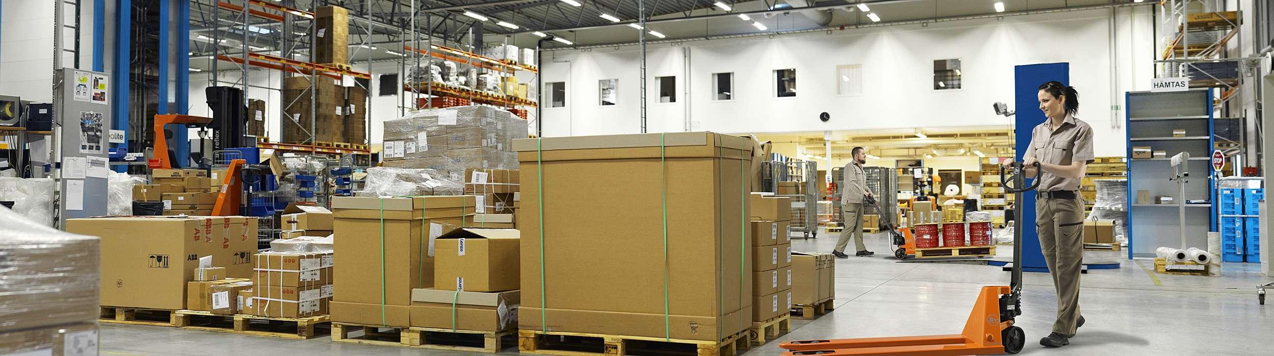 Hand pallet truck in warehouse