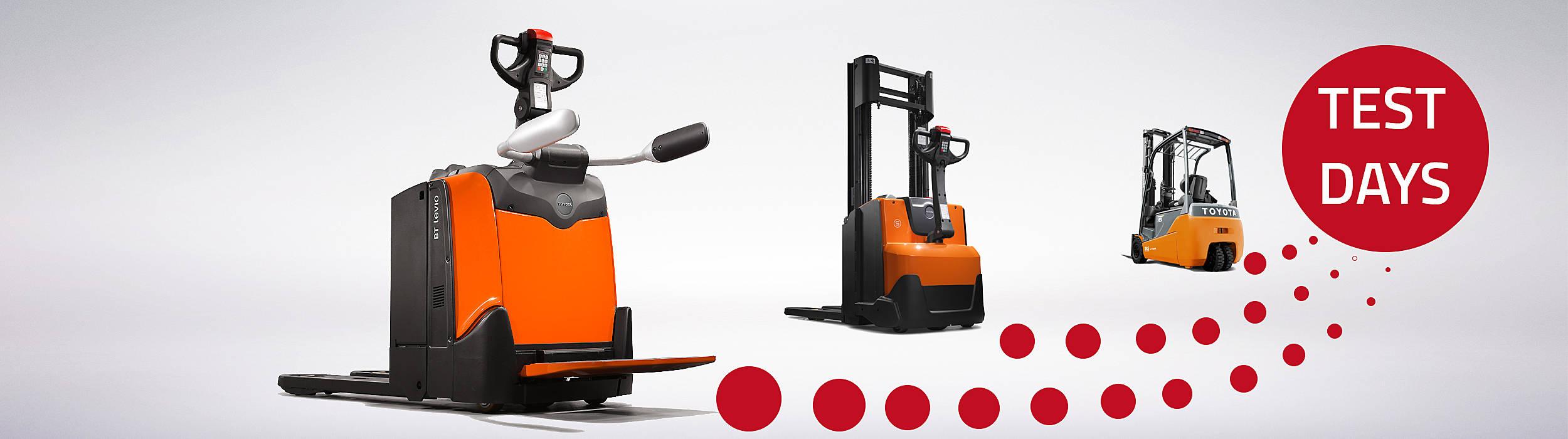Dans le cadre des TEST DAYS 5 jours de Toyota Material Handling Suisse, vous pouvez choisir et tester la solution la plus adapté à vos besoins : nous vous  livrons et reprenons gratuitement la machine de manutention que vous avez choisi. Il n'y a aucun effort  pour vous !