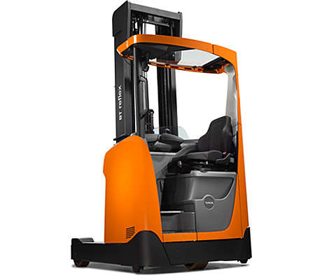 Reach truck on white background