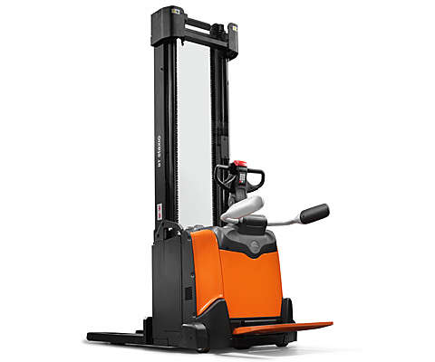 Powered stacker on white background