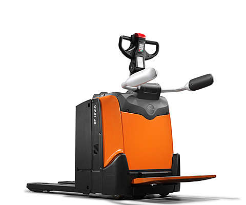 Powered pallet truck on white background