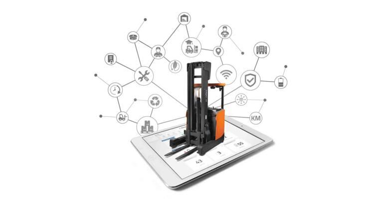 Retrak propojený pomocí aplikace na tabletu - technologie Smart Trucks
