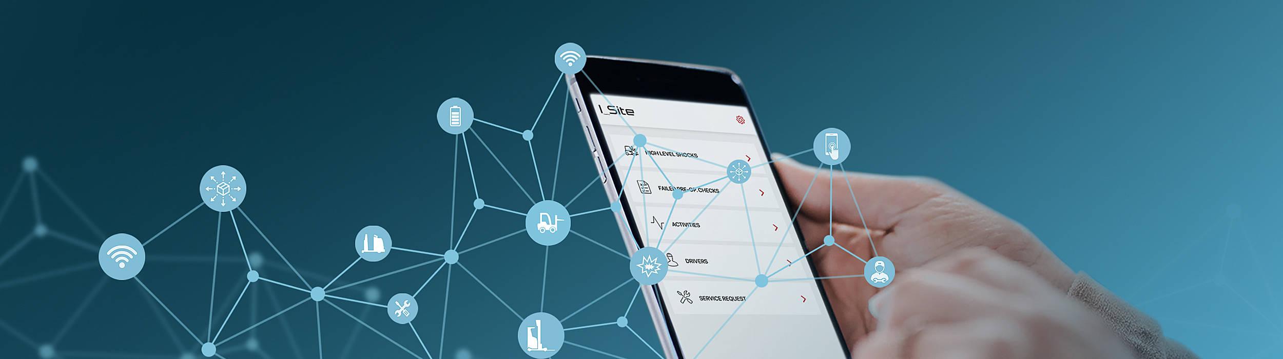 sistema de gestión de flotas I_Site en un smartphone