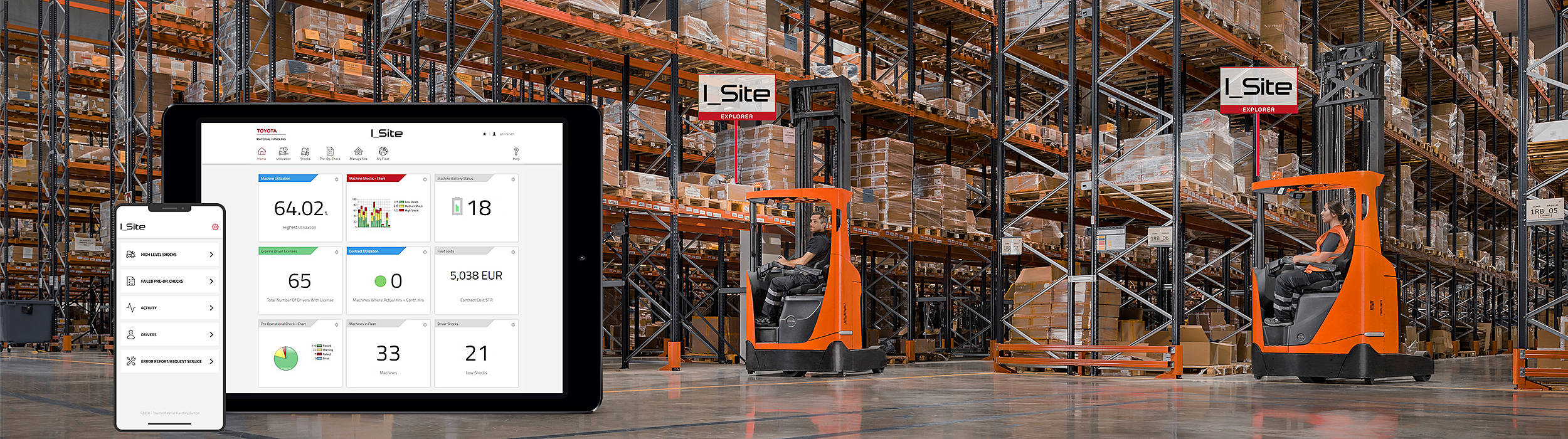 I_Site comes in three packages. With I_Site Starter you get, for free, access to the service app and keep track of your fleet's operating hours. The other two packages provide you with a complete cost or perfomance overview of your forklift fleet.