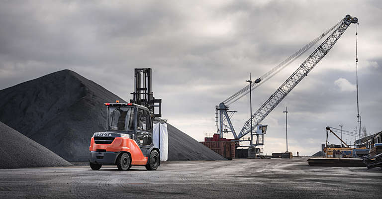 Toyota Tonero forklift truck used in ports & harbours