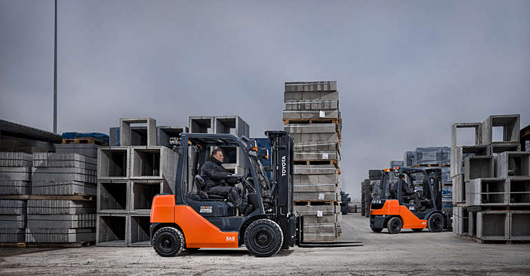Toyota Tonero forklift truck used in construction industry