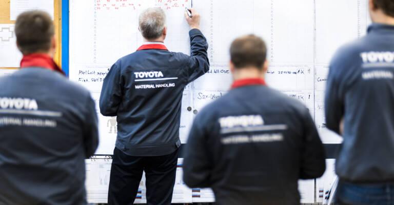 Employés Toyota qui suivent une formation Lean Management