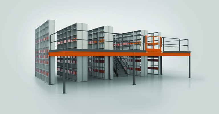 Heavy-duty shelving in warehouse