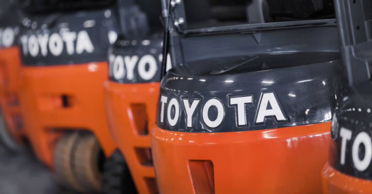Close up on Toyota trucks